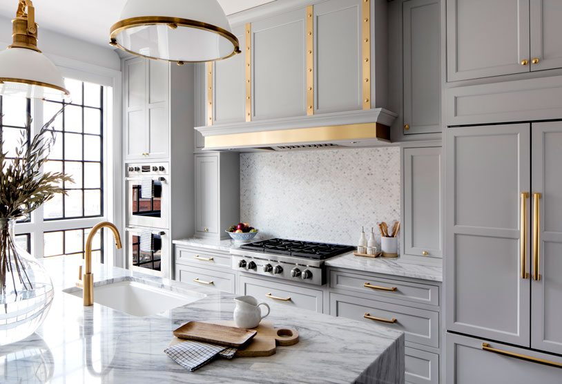 Gray cabinets with gold hardware | Bria Hammel Interiors