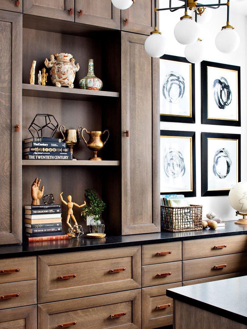 Quartersawn Oak Office Bookshelf | Bria Hammel Interiors